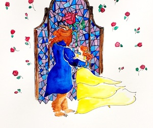 art, background, and beauty and the beast image