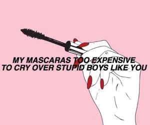 mascara, pink, and quotes image