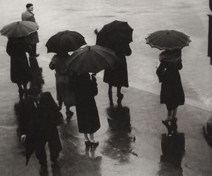 rain, umbrella, and black and white image