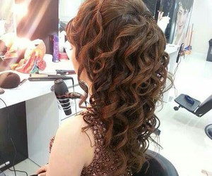 coiffure, long hair, and wedding hair image