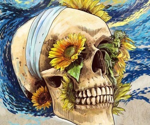 skull, art, and sunflower image