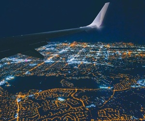 airplane, lights, and night image