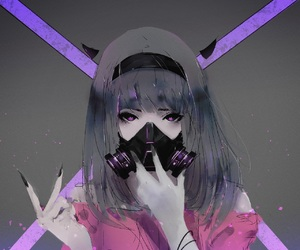 anime, girl, and mask image