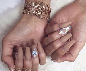 nails, diamond, and glam image