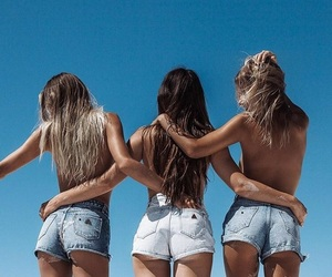 girls, friends, and summer image