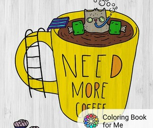 book, coloring, and cofee image