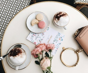 coffee, flowers, and macaron image