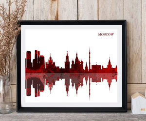 etsy, moscow, and watercolor art image
