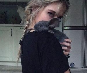 girl, black, and rabbit image