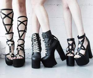 heels, gothic design, and trash image