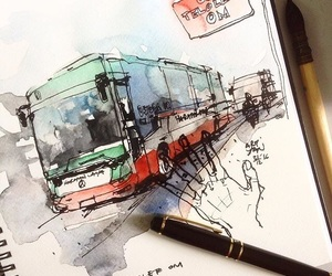 art, bus, and hand image