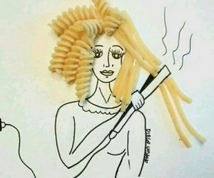 hair, pasta, and art image