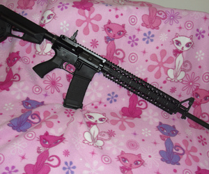 pink, aesthetic, and gun image