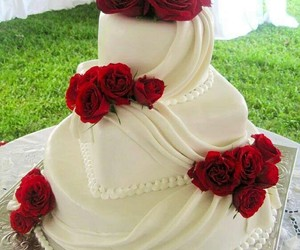 cake, rose, and wedding image