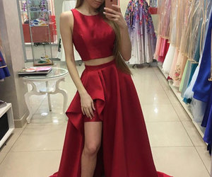 dress, woman dress, and red evening dress image