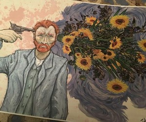 art, van gogh, and sunflower image