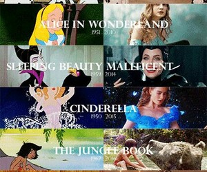 alice in wonderland, jungle book, and beauty and the beast image