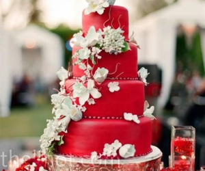 red, cake, and flowers image