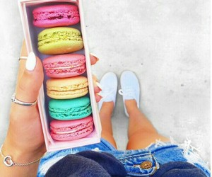 color, sneakers, and macaroons image