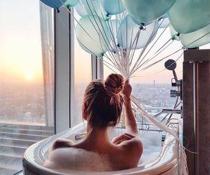 girl, balloons, and bath image