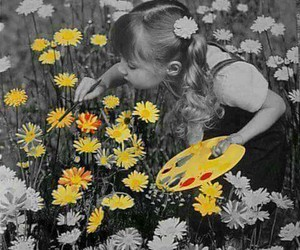 flowers, girl, and picture image