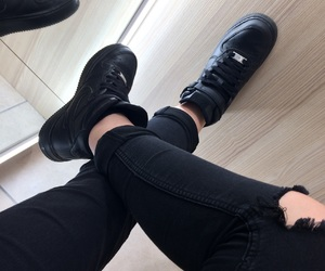 nike, ripped jeans, and nike air force 1 image