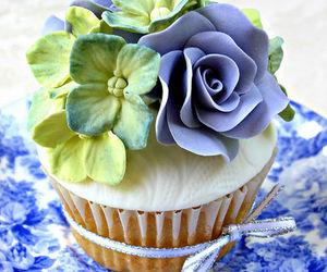 blue, cupcake, and rose image