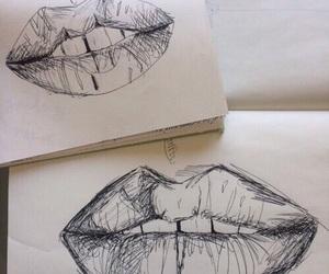lips, art, and drawing image