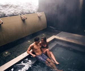 cool, pool, and couple image