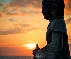 peace, buda, and sunset image