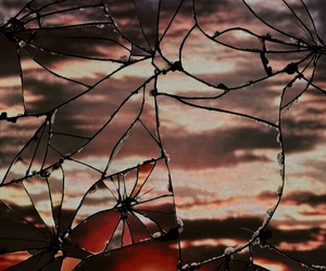 sunset, sun, and broken image