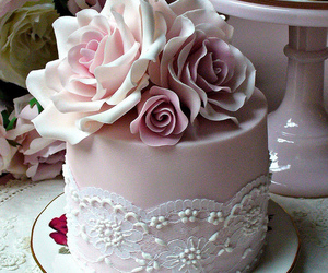 cake, pink, and rose image