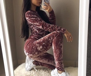 beautiful, brunette, and tracksuit image
