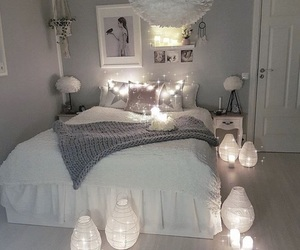 bed, home, and white image