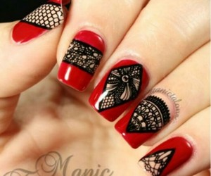 nails, lace, and manicure image