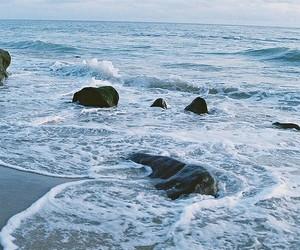 beach, ocean, and stone image