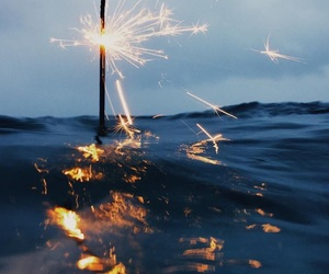 beach, nature, and sparkler image
