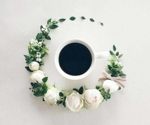 cup, white, and flowers image