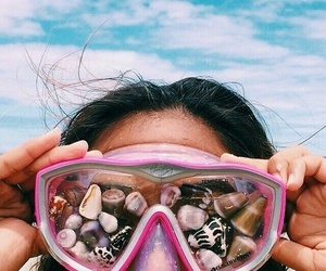 beach, pink, and beauty image