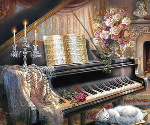 piano, cat, and flowers image
