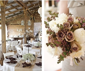 brown, brown and white, and country wedding image