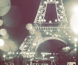 paris, night, and eiffel tower image