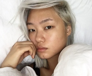 bleached hair, lifestyle, and no makeup image