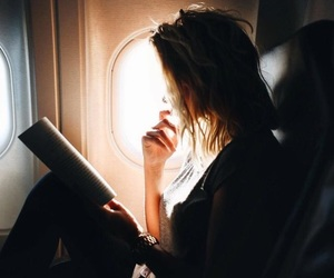 airplane, reading, and girl image