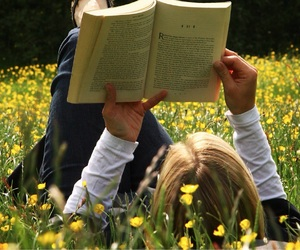 books, flowers, and buttercups image