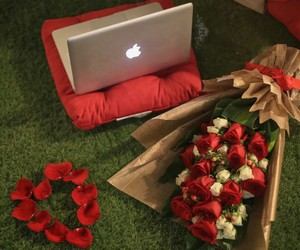 apple, bouquet, and flowers image