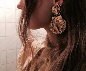 earrings, details, and gold image