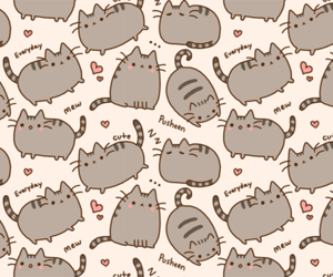 cat, pusheen, and wallpaper image