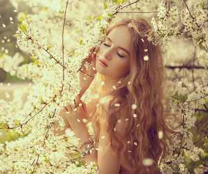 girl, spring, and beautiful image