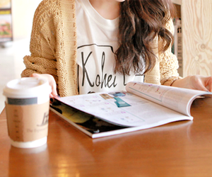 girl, coffee, and book image